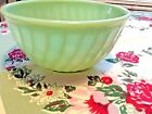 VINTAGE FIRE KING JADEITE SWIRL Mixing bowl eight inches by four inches tall.