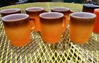 6 Vintage Fire-King Ware Orange to/Brown Stackable MUGS Great Shape