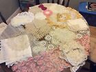 LARGE LOT Vintage Antique Lace Crocheted Runners Tablecloth Doilies Lace