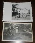 Vintage Pair Photographs Photos Bicycles Woman with Hand Lawn Mower