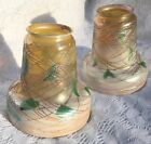 2 beautiful ANTIQUE QUEZAL IRIDESCENT THREADED LAMP SHADES IVY / HEARTS-SIGNED