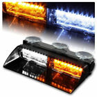 Amber+White 16LED Car Police Strobe Flash Light Dash Emergency Flashing Light