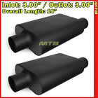 High Flow Two Chamber Muffler 3 inches Offset In Center Out Black Pair 212250