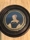 18th C Small Antique Early Old Oil Painting Portrait OOC Wooden Frame Lady Woman