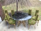 Mid Century Dining Set Table Chairs Glass Hollywood Regency Gold Trojan Metal
