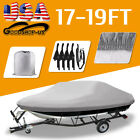 14 22ft Heavy Duty Trailerable Waterproof Boat Cover Fishing Ski Bass Beam Grey