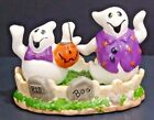 Bella Casa 3Pc Halloween Graveyard W Ghosts Salt  Pepper Shakers W Holder NWT