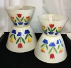 * Fire King TULIPS ON IVORY* SPLASH PROOF MIXING BOWLS * SET OF 4* SET #1*