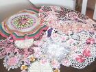 Vintage Lot of 10 Hand Crocheted Floral Colored Doilies