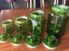 Lime Green Panneled Glass 4-Pc Canister Set L E Smith VINTAGE