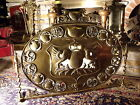 19C Winged Griffin-Crown-Eagle Armourial Shield Bronze Fireplace Screen