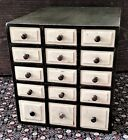 small 15 drawer Chest, apothecary, spice, storage, beveled drawers, green, 14