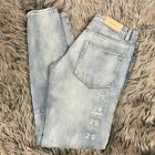 MNML Light Wash Zip Ankle Jeans Taper Leg Button Fly 100 Cotton Size 29 New