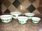 Vintage Milk Glass Hazel Atlas Green Ivy Leaf Nesting Mixing Bowl Set of 5