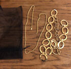 """28"""" Golden Chain & 26"""" Necklace of 1-1/2"""" Oval Golden Loops wi 7"""" Extra Chain"""