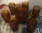 Indiana vintage ice tea pitcher with six glasses, amber gold color, exc. cond.