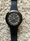 Guess men's U13522G1 black and rose gold-tone silicone casual sport watch