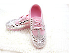 New Womens Rhinestones Pink Lace Up Casual Sneakers Slip On Running Sport Shoes