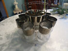 Vintage CHROME CADDY MID CENTURY GLASS Cocktail Drinking Caddy Barware Set Retro