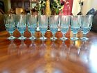 8 Stunning Vintage Mid Century Iridescent Blue Fluted Water Goblets Glasses
