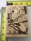 Hampton Art Wood Mounted Rubber Stamp Jill Meyer Quill Collage 5 Inches
