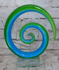 Murano Glassware Art Glass Sculpture Swirl Green Blue on Clear Base 8x7 inches