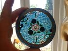 Vintage Chinese Cloisonne Plique a Jour Glass Flower 3 Footed Bowl