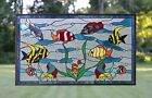 345 x 205 Tropical Fish under the Sea Handcrafted stained glass window panel