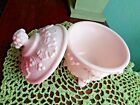 VINTAGE JEANETTE FOOTED PINK MILK GLASS GRAPE MOTIF CANDY DISH W/LID