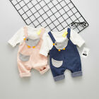 2Pcs Kids Toddler Baby Girls Clothing Cotton Outfits T-Shrits+Bib Pants Overalls