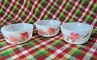 3 Fire King Custard Baking Dishes in Peach Blossom  Pattern 4