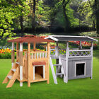 Wooden Dog Pet House Cat Room Puppy Large Kennel Indoor Outdoor Shelter w Roof