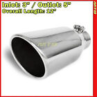 Exhaust Tip 214282 Stainless Truck Angled Polished 12 inch Bolt On 3 In 5 Out