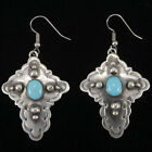 Sterling Cross Native American Genuine Turquoise French Hook Earrings