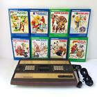 Mattel Intellivision Brown Console Bundle 2609 w/ 8 Boxed Games, RF Cable Tested