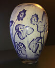 Kosta Boda Vase by OLLE BROZEN Signed Glass Sweden Scandinavian Blue Flowers