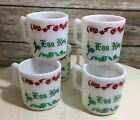 Set of 6 Vintage Hazel Atlas Milk Glass Jingle Bells Egg Nog Mugs
