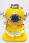 YELLOW Marine Scuba Boston Brass Diving Helmet US Navy Divers w/ WOODEN STAND