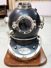 BLACK Marine Scuba Boston Brass Diving Helmet US Navy Divers w/ WOODEN STAND