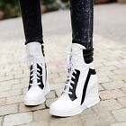 Ta Womens High Top Ankle Boots Lace Up Sneakers Hidden Wedge Heel Trainer Shoess