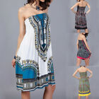 Ladies Sexy Off Shoulder African Ethnic Floral Print Mini Beach Strapless Dress