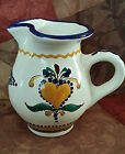 Vintage Hand Painted Pitcher Made in Hungary Floral Design 5 1/2