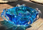 Vintage Murano Art Glass Sapphire To Clear Ashtray Polished Base
