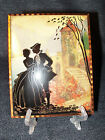 Antique Reverse Painted Romantic Couple on Glass with Castle and Tree EUC 1915