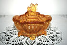 Portieux Vallerysthal Amber Glass Footed and Covered Squirrel Box FRANCE