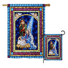 Stained Glass Nativity Winter Decorative House Garden Flags Set US Made