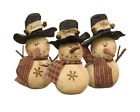 Primitive Stuffed Snowman-Set of 3/Roly Poly Snowman Chriistmas Winter Decor