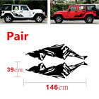 2Pcs Snow Mountain Range Mountain Graphics Car Decals Sticker For Jeep Wrangler