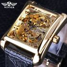 Retro Casual Series Rectangle Dial Design Golden Pattern Hollow Skeleton Watch M