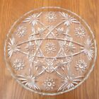 Clear Glass Hobstar Pattern Round Serving Plate Platter Tray